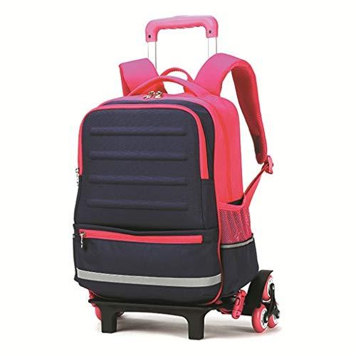 A-Nice Trolley Backpack Elementary Middle School Rolling Bag Con ruedas Con mochila impermeable para niños Chicas Desmontable Bolsa de estudiante de doble uso Fácil de subir Escaleras Escuela 18 litro