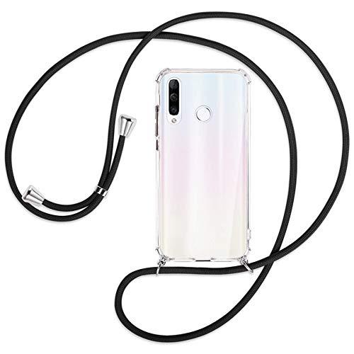 mtb more energy® Handykette kompatibel mit Huawei P30 Lite, P30 Lite New Edition (6.15'') - schwarz - Smartphone Hülle zum Umhängen - Anti Shock Strong TPU Hülle