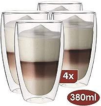Maxxo Vasos de Doble Pared Late Macchiato 4X 380 ml Copas de Vidrio Térmico Resistente al Calor y Frío Tazas con Efecto Flotante para Té y Café