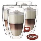 Maxxo Doppelwandige Gläser Laté Macchiato Set 4X 380 ml Kaffee Thermogläser mit Schwebe-Effekt beständige Kaffeegläser
