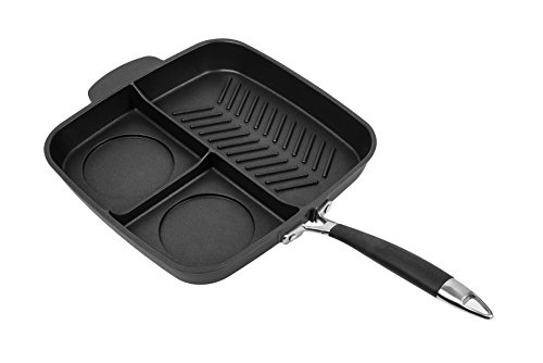 MasterPan Non-Stick 3 Section Meal Skillet, 11', Black
