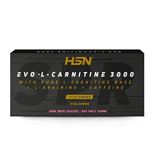 Carnitina Líquida de HSN Evo L Carnitine 3000 | Con L-Carnitina + Arginina + Cafeína + Vitamina B6 | Vegetariano, No-GMO, Sin Gluten, Sin Lactosa | Sabor Frutos Silvestres | 20 Viales de 10m
