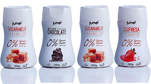 Sirope ESPECIAL FITNESS JUMEL 0% SIN grasas SIN gluten y CON STEVIA. Solo 3 Kcal por ración. Multisabor caramelo, chocolate y fresa. Envase antigoteo. Diet. Fitness.
