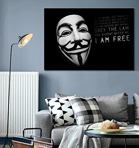 GBHNJ 1 Piezas Arte Pared Imágenes Anonymous Mask Free Freedom Quote Impresión Lienzo Pared Arte Pintura,Impresión En Lienzo 1 Piezas,Cuadro sobre Lienzo 1 Piezas,Cuadro En Lienzo Impresión 1 Piezas