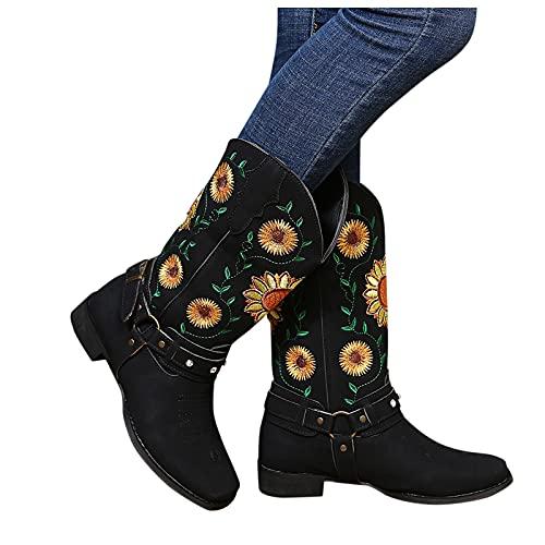 Dasongff Bottes Gros Mollets Femme Boots Equitation Femme Boots Chic et Élégant Broderie Boot Equitation Bout Rond Bottes Moto Femmes Rétro Cowboy Western pour Automne Hiver Bottes Larges