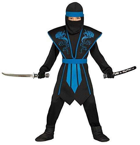 Magicoo Ninja Kostüm für Jungen Kinder blau schwarz mit Rüstung Gr 110 bis 146 - Ninja Halloween Fasching Kostüm (140/146)