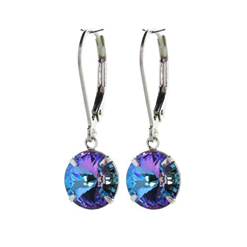 pewterhooter 925 Sterling Silver drop earrings for women made with brilliant Starlight crystal from Swarovski. Gift box. Made in the UK. Hypoallergenic & Nickle Free for Sensitive Ears.