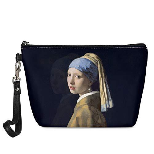 HUGS IDEA Trapezförmige Make-up-Tasche, Mädchen mit Perlenohrringen, Ölgemälde, Frauen, Reisen, Einkaufen, Clutch, tragbare Kosmetiktasche