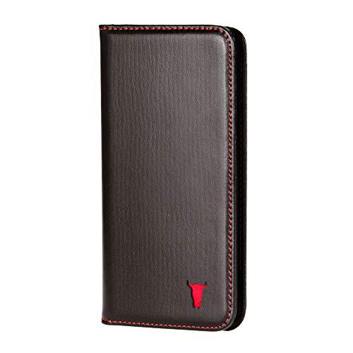 TORRO Handyhülle Kompatibel mit Apple iPhone 6S und iPhone 6 hochwertiges Leder mit [Karten Steckfach] [Horizontale Standfunktion] [strapazierfähiger Rahmen] 4.7 Zoll (Schwarz)