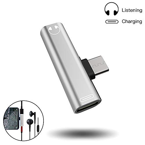 Adaptador de Conector de Auriculares USB C a 3,5 mm, Adaptador y Conector y convertidor de Auriculares Tipo C, admite Llamadas/música para Huawei Mate10 Pro / P20 / P20, Xiaomi MI6 / 6X / MIX2
