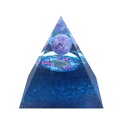 PAKEY Orgone Pendant Pyramid,EMF Protection Meditation Yoga Energy Generator,Raw Multi Color Tourmaline Crystal Healing Pendant Stone,Positive Energy Generator Orgonite Pyramid-No.3