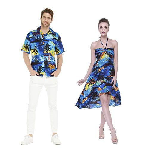 Hawaii Hangover Pareja Juego Hawaiano Luau Fiesta Traje Conjunto Camisa Vestido en Azul Puesta de Sol Hombres L Mujer S