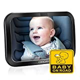 OMorc Baby Car Mirror, Baby Rearview Mirror For Rear Seat Safe Car Mirror, Adjustable Elastic Straps Have 360 ​​° Rotation, Baby On Board Sticker [Upgraded Version]