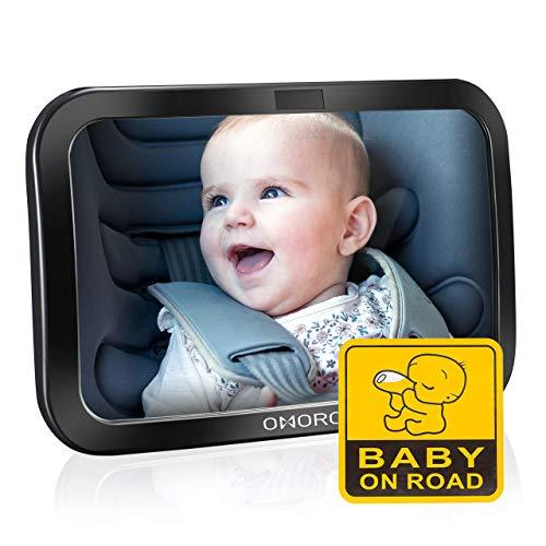 OMorc Miroir Voiture Bébé, Rétroviseur De Surveillance Bébé Pour Siège Arrière Miroir De Auto En Sécurité, Sangles Elastiques Réglables Avez Rotation 360°, Sticker bébé à bord [Version Améliorée]
