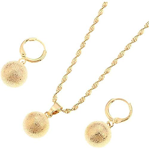 LBBYMX Co.,ltd Necklace Gold Color Frosting Pearl Round Pendant Necklace Ball Dangle Earrings for Africa Jewelry Set