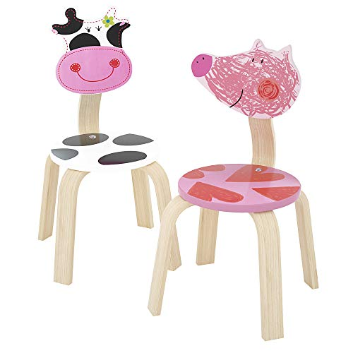 iPlay, iLearn 2 PCS Wooden Kids Chair Sets, Natural Hardwood Cow & Pig Animal Children Chairs, Furniture Set for Toddlers Kids Boys Girls, Stackable for Playroom, Nursery, Preschool, Kindergarten
