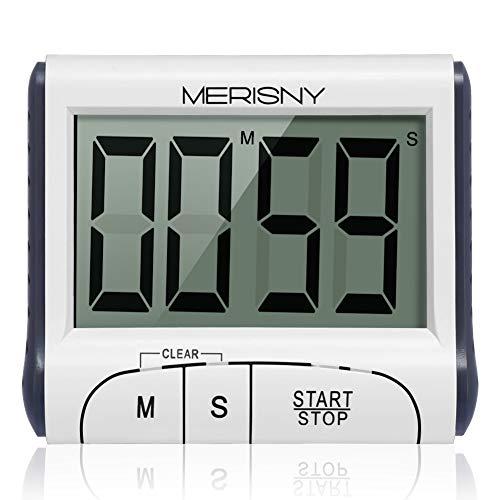 Merisny Minuteur de Cuisine Electronique, Minuterie Numérique 24 Heures avec Sonore Ecran LCD, Compte à Rebours Support Aimanté - Blanc (Batterie Incluse) (Cuisine)