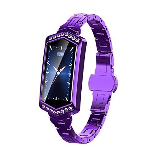 SHshou-L Fitness Tracker, écran Couleur pour Dames Full Snack Rate Monitoring Ip67 Montre de Sport étanche Bracelet GPS,Purple