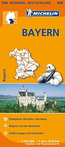 Michelin Bayern: Straßen- und Tourismuskarte 1:375.000 (MICHELIN Regionalkarten)