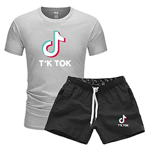Moda De Verano para Hombres Y Mujeres TIK-Tok Camiseta Estampada Casual De Calle De Manga Corta + Pantalones Cortos Deportes Al Aire Libre 1/4 Traje De Manga Corta L