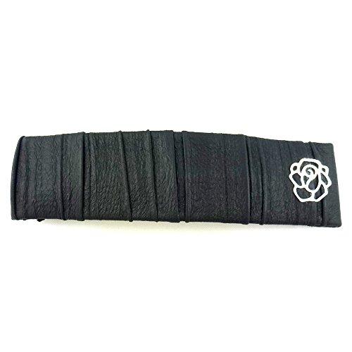 rougecaramel - Accessoires cheveux - Barrette cheveux rectangulaire simili cuir - noir