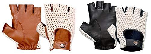 Guantes sin dedos de medio dedo de cuero sin forro de estilo vintage con cordones de ganchillo en la espalda para hombres Guantes deportivos antideslizantes para conducir Ciclismo Correr (Negro XXL)