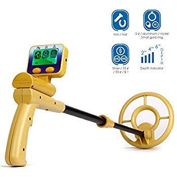 INTEY Metalldetektor mit LCD-Display, wasserdichte Spule, Empfindlichkeit Kopfhörerbuchse, hohe Präzision zur Erkennung von Gold, Nägeln und Anderen Metallen