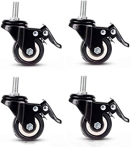 Ruedas giratorias de goma sintética de 180 kg, 50 mm, ruedas giratorias con frenos, color negro, tornillo de 10 mm (color 4 con frenos)