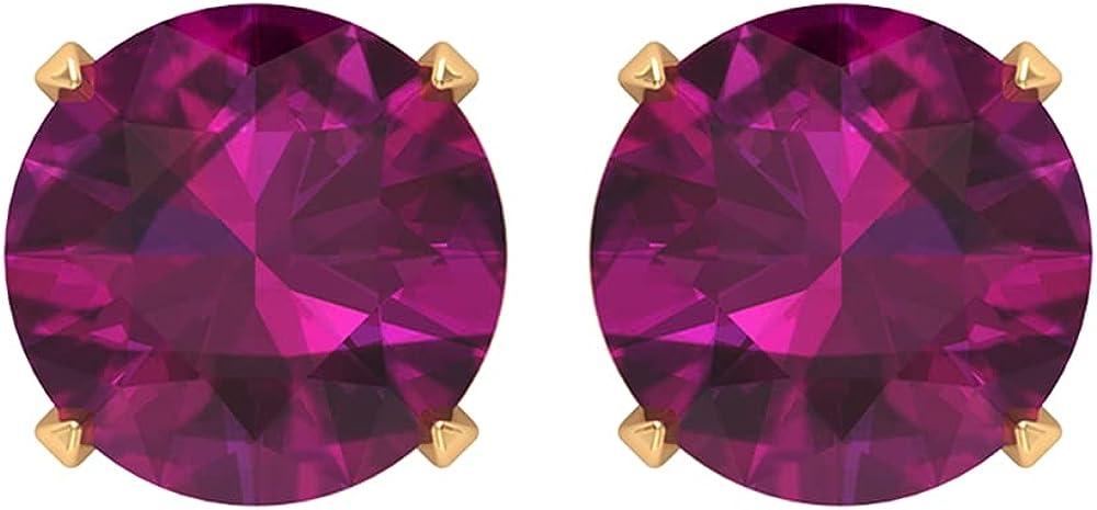 Solitaire Stud Earring, Round Stud Earring, Gold Stud Earrings for Women 10K Rose Gold Screw Back