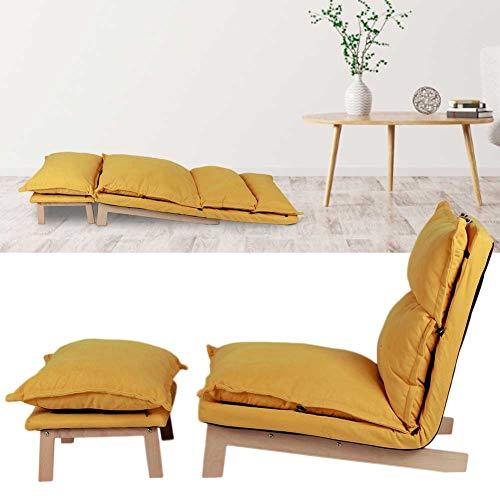 Dioche Sillón relax reclinable de tela, sillón reclinable con reposapiés, respaldo de la silla ajustable, cojín suave y cómodo, silla para casa, dormitorio (amarillo)