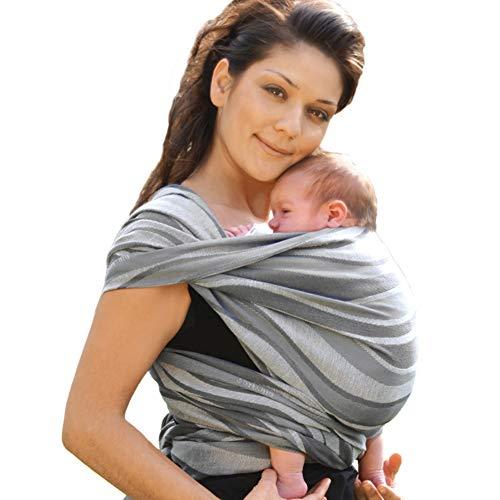 Didymos 446006 Babytragetuch, Modell Wellen silber, Größe 6
