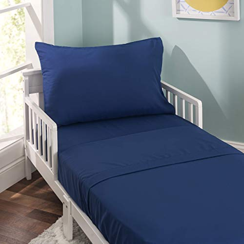 EVERYDAY KIDS 4 Piece Toddler Bedding Set - Includes Comforter, Flat Sheet, Fitted Sheet and Reversible Pillowcase - Solid Navy