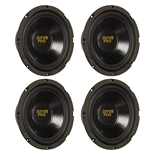 Pyramid PW848USX Powerful 8 Inch 350 Watt 8 Ohm High Performance Vehicle Car Audio Subwoofer Speaker System with 3.5 Inch Mounting Depth, Black (4 Pack)