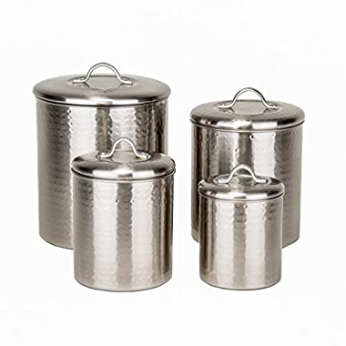 Old Dutch 4 Piece Hammered Brushed Nickel Canister Set