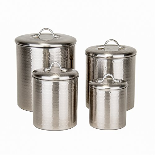 Old Dutch 1943 4 Piece Hammered Brushed Nickel Canister Set