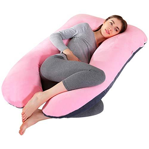 SHANNA Almohada de Embarazo, Almohada de Cuerpo Completo con Forma de U Grande, 100% algodón con Funda de Terciopelo reemplazable y Lavable para Dormir y Alimentar, 70 x 145 cm Gris (Gris+Rosa)
