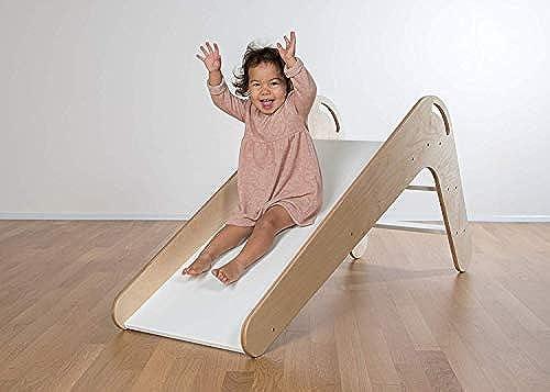 Kinderrutsche Viva aus Hochwertigem Echtholz, Modell Natur-Weiß
