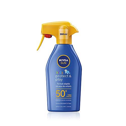 NIVEA SUN Kids Spray solaire Protect & Play FPS 50+ (1x300 ml), protection solaire pour enfants extra résistante à l'eau, soin solaire avec hydratation durable