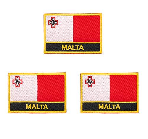 3 x bestickte Malta-Flaggen-Aufnäher.