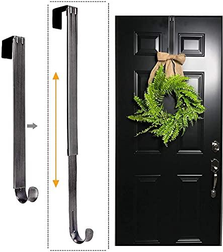 LBSUN Wreath Hanger, Adjustable Over The Door Wreath Hanger Wreath Holder Wreath Hook for Door Christmas (Nickel,20 lbs)