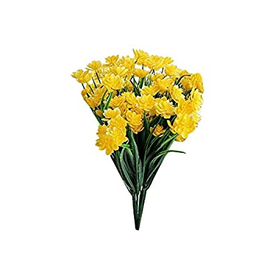 HuaTeus Fake Artificial Flowers Outdoor for Decoration UV Resistant No Fade Faux Plastic Plants Garden Porch Window Kitchen Office Table FGTNV (Color : Yellow)