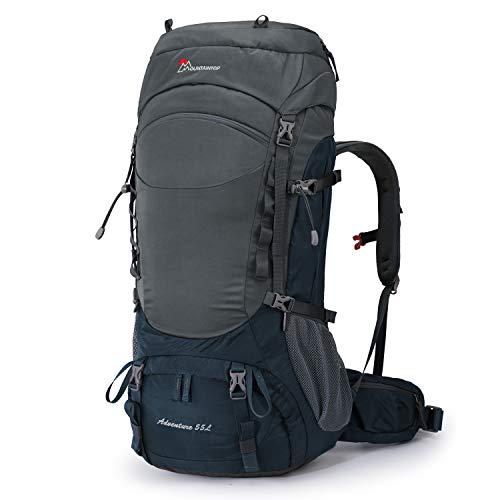 MOUNTAINTOP 55L Rucksack mit internem Rahmen, Wanderrucksack für Herren mit Regenschutz