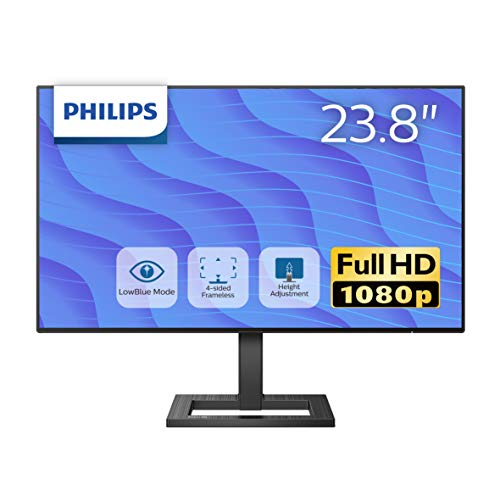 PHILIPS 液晶ディスプレイ PCモニター 242E2FE/11 (23.8インチ/5年保証/FHD/IPS/D-sub 15,HDMI,Display Port/高さ調整/チルト/4面フレームレス/FreeSync(HDMI,DP)/ちらつき防止/ブルーライト軽減)