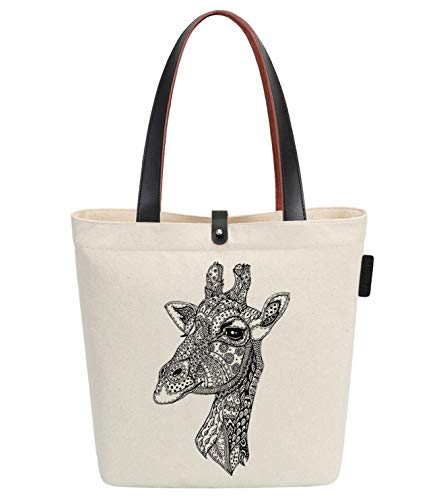 So'each Canvas & Beach Tote Bag Giraffe Geometria Stampa 38 centimetri 10 litri Beige