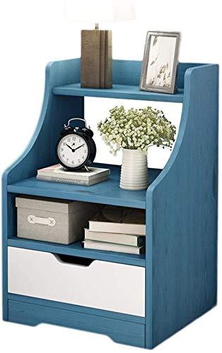 File cabinets Nachttisch Nachttisch Haushaltsmontage Schublade Spind, abgerundet, Wohnzimmer, Flur, Schlafzimmer, 37 x 30 x 57 cm, Beistelltisch (Farbe: Blau)