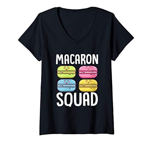 Womens Macaron Squad Macarons Baking Bakery French Food Dessert V-Neck T-Shirt