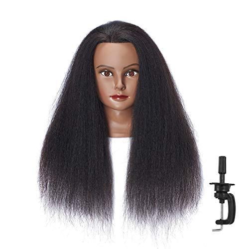 Hairlink 100% Real Hair Afro Mannequin Head Hairdresser Hair Styling Training Head Dolls for Cosmetology Manikin Maniquins Practice Head with Stand (6611B0216)