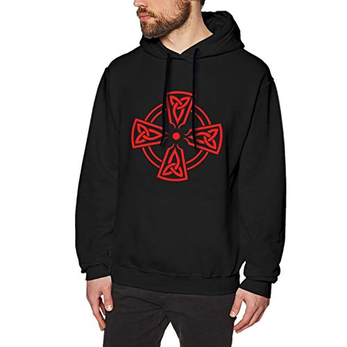 Celtic Cross Knot Irish logo man Sweatshirt Heavyweight Hoodie Casual Long sleeve Black