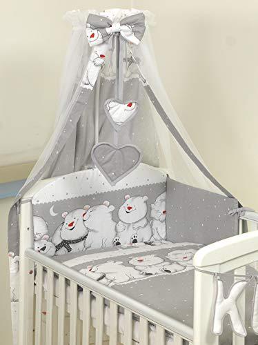 11 Pezzi Set di biancheria per letto culla bambini paracolpi baldacchino (120x60cm, Teddies Grey)