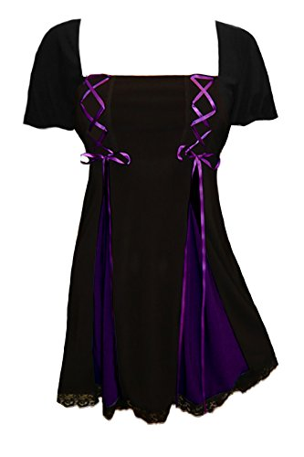 Dare to Wear Gemini Princess S/S Corset Top: Victorian Gothic Women's Plus Size Babydoll Chemise for Everyday Halloween Cosplay, Black/Purple 3X